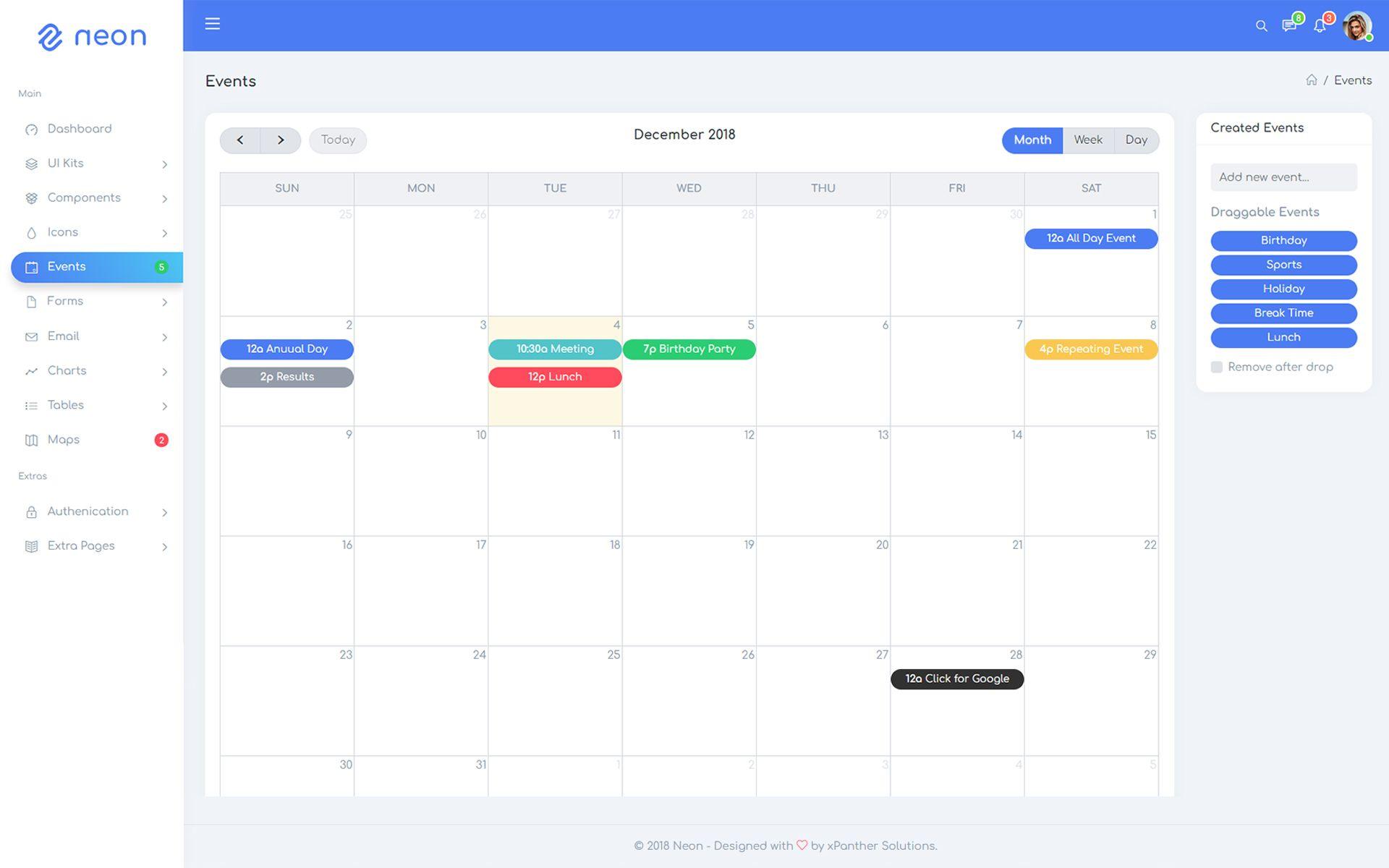 Neon - Responsive Bootstrap 4 UI Kits Admin Template #75197