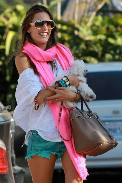 Alessandra Ambrosio - the pop of pink makes this fun