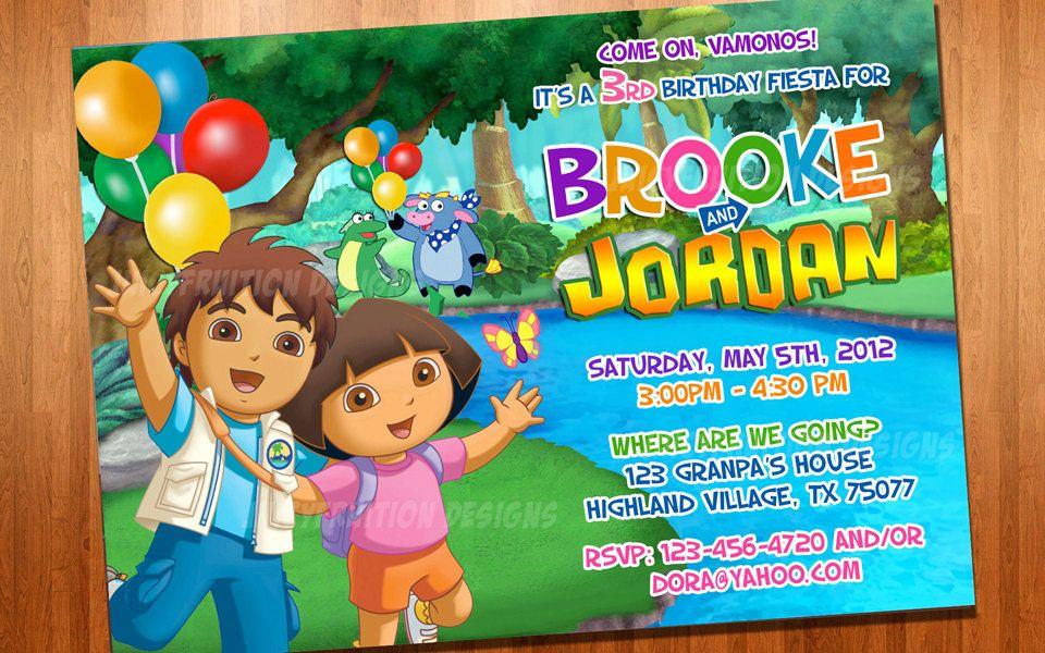 Dora and Diego Birthday Invite | Birthday invitations ...