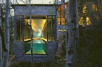 Glass wall at one end of this lap pool turns it into a human aquarium! Exterior Bohlin Cywinski Jackson