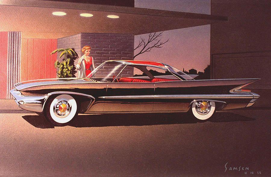 1960 Desoto Classic Styling Design Concept Rendering Sketch by John Samsen
