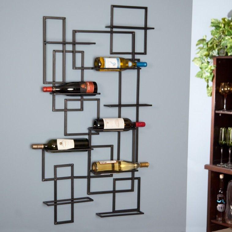 10 black metal Wall Wine Rack on blue wall theme