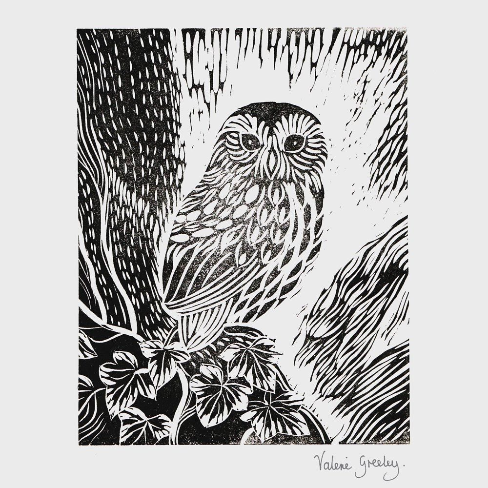 owl in the ivy screen print by valerie greeley | cease board