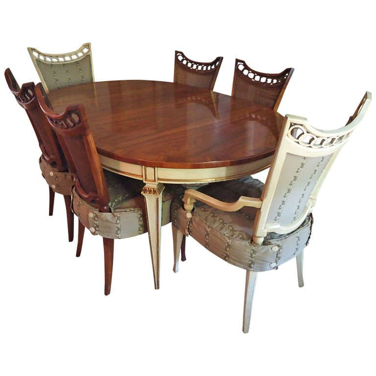 Delightful Oval Mahogany And Painted Dining Table 6 Chairs From A Unique Collection Of Antique Modern Room Sets At