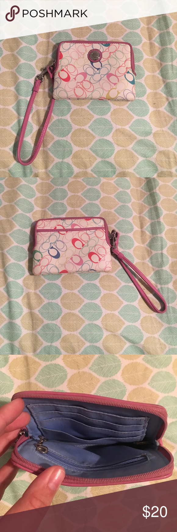 Coach wristlet This coach wristlet is in great condition and has only been used a few times! It is great for a young teen or a mother wanting to switch it up for summer ! Coach Bags Clutches & Wristlets