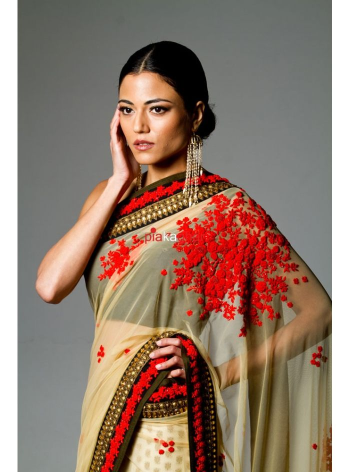 5c67b8981c Yellow Anoushka Net Saree with hand french knot embroidery ...