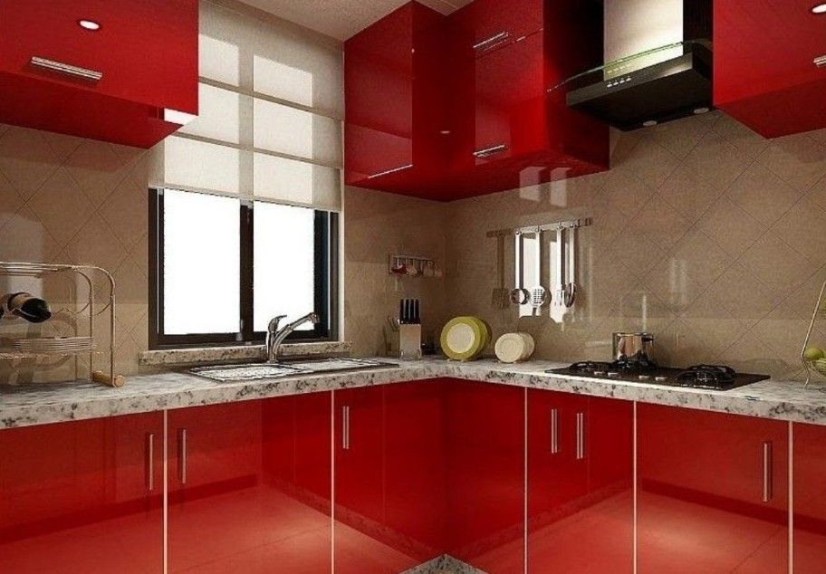 Contemporary Roller Window Blind And Mirrored Backsplash Feat Amazing Red  Kitchen Cabinets Also Granite Countertop