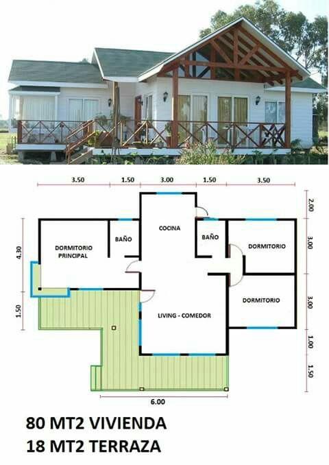 Plano De Casa Campestre 80 M2 Con Tres Cuartos Y Terraza En