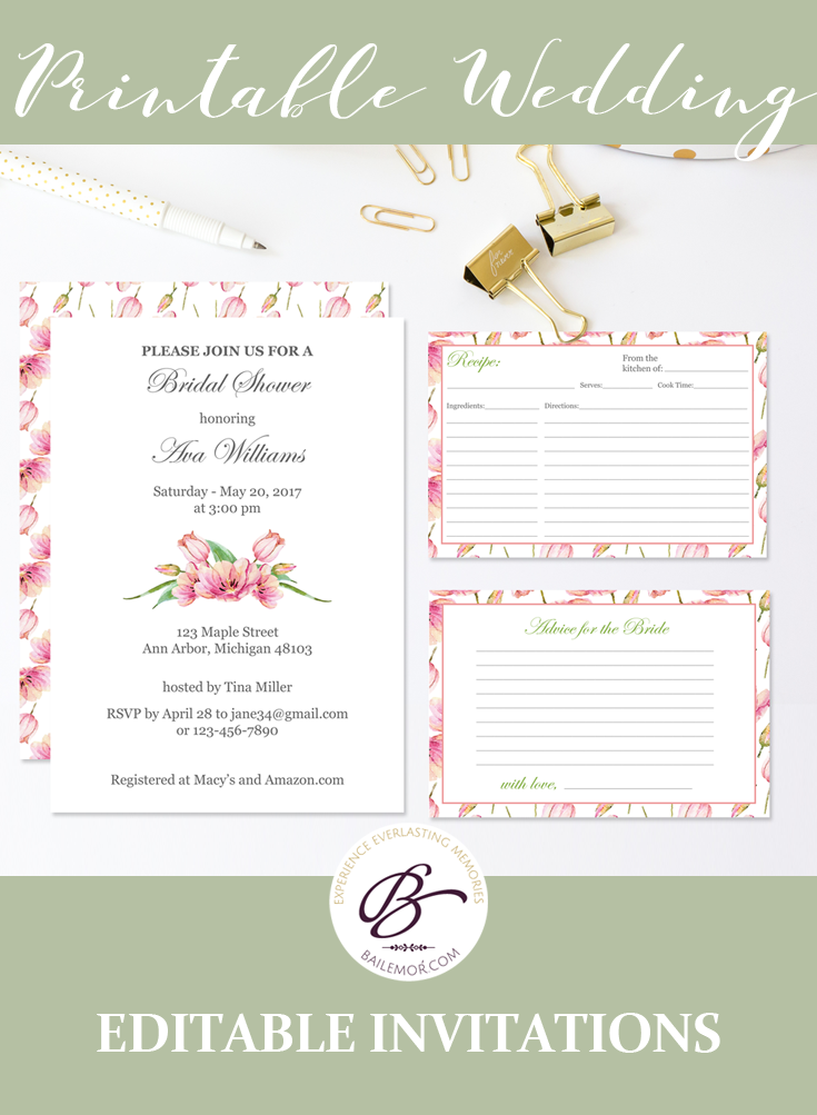 floral bridal shower invitations that you can edit and print at home or at your local