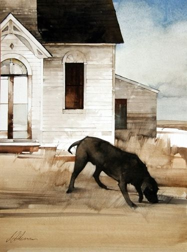 "2009, Scavenger by Joseph Alleman Watercolor ~ 16"" x 12"""