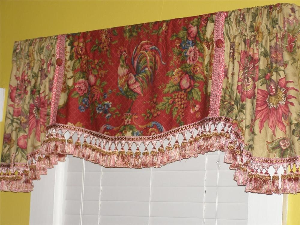 New Valance French Country Waverly Red Rooster Toile Jacobean Floral Tassel Trim Hom Bathroom Window Treatments Country House Decor Valance Window Treatments