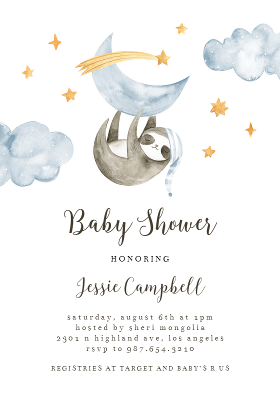 Sleeping Sloth And Panda Baby Shower Invitation Template Greetings Island Panda Baby Shower Invitations Panda Baby Showers Baby Shower Invitations For Boys