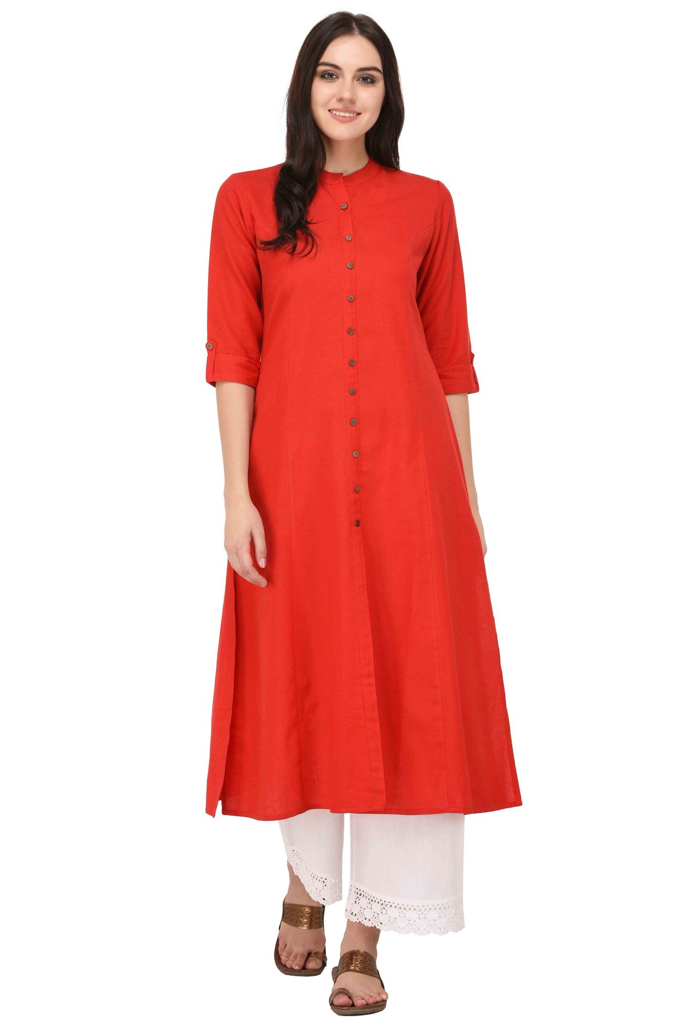 49ebd35333f85 Red Kurta With Fold Up Sleeves in 2019 | Desi outfits | Red kurta ...