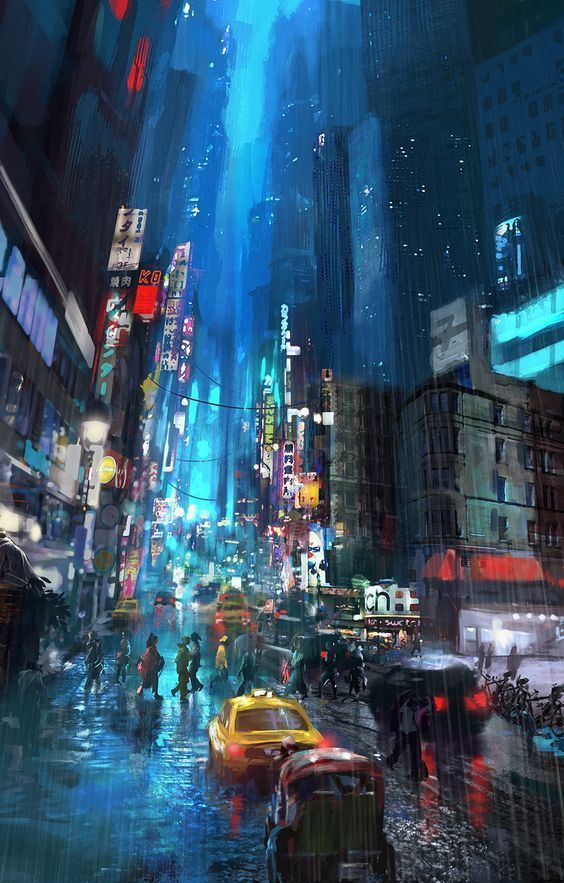 """cyberpunky """"""""Blue City"""" by Miguel Angel Camacho """" (With"""