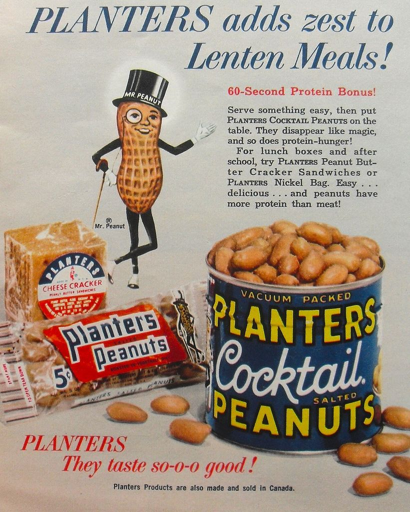 Peanut Sipper Straw Store Window Poster Planters Antique Vintage Advertising Butter 1960s Mr