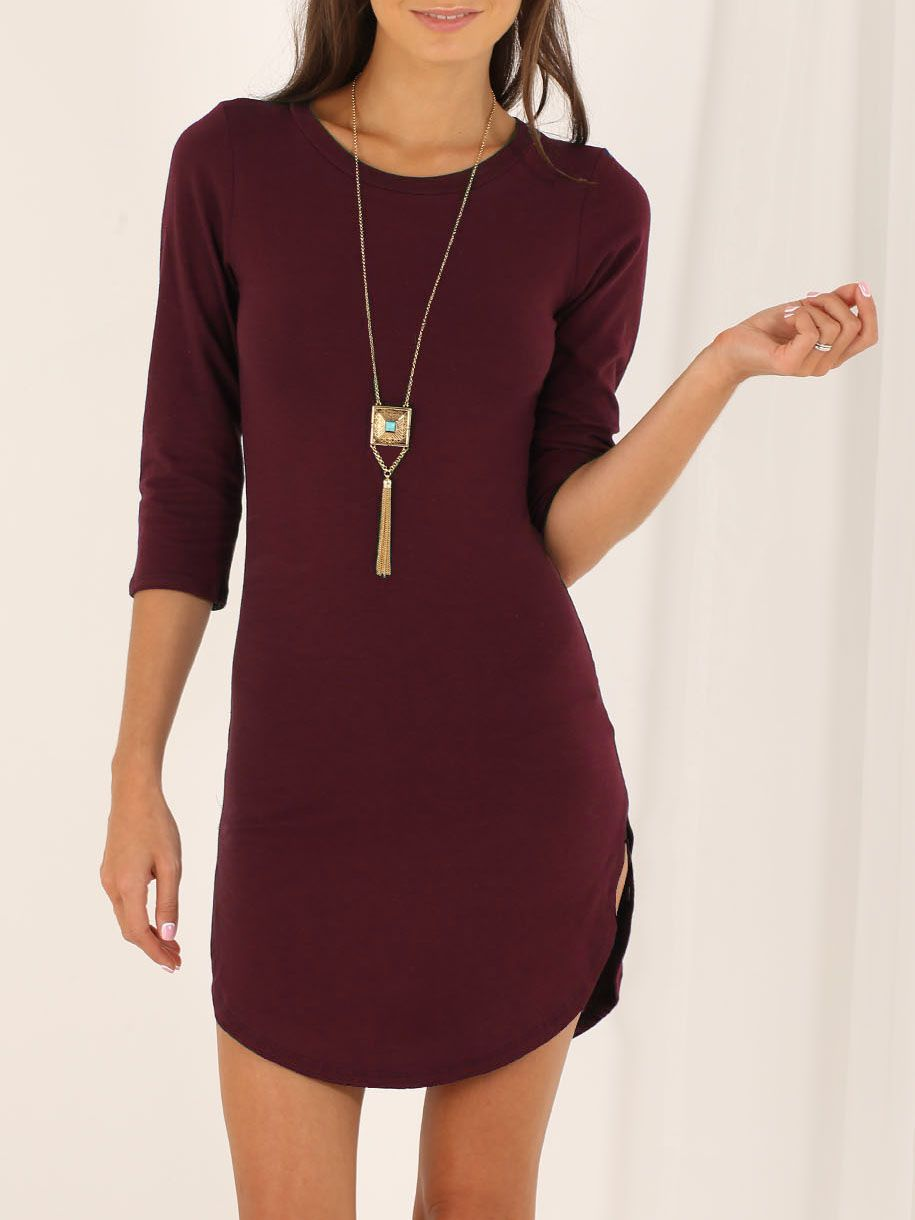 Wine Red Round Neck Split Casual Dress  a9d410df7b31