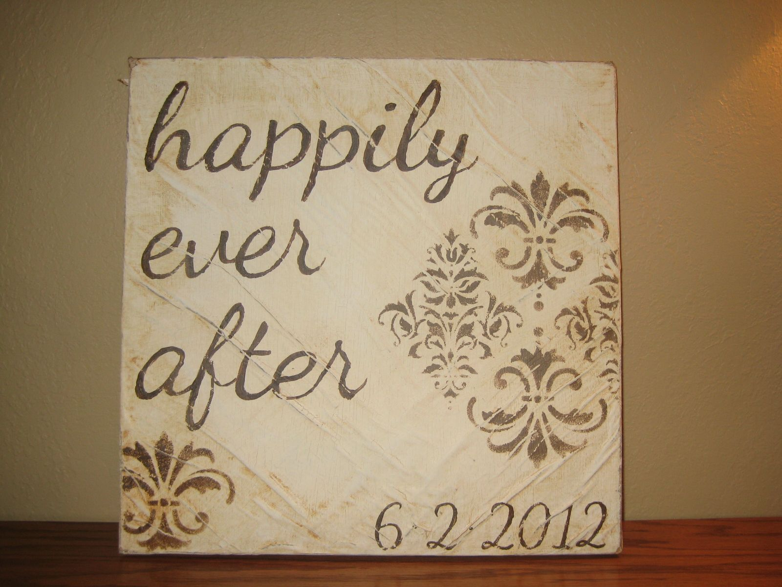 Diy Distressed Canvas Art  Wedding Gift 1 Mod Podge