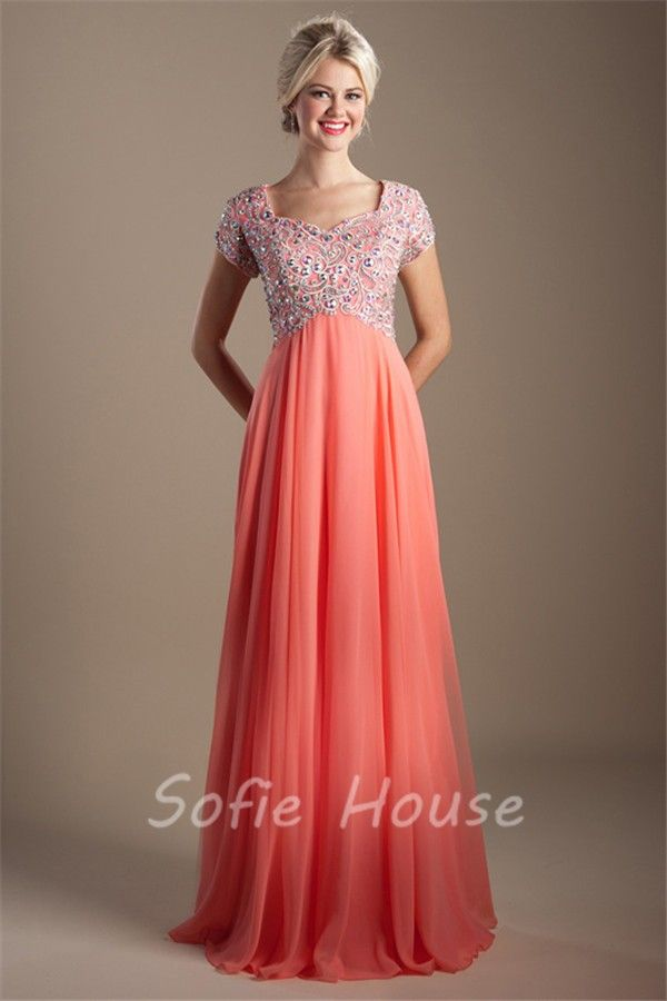 5243d6dc7ea Modest Empire Waist Sleeve Long Coral Chiffon Beaded Rhinestone Prom Dress