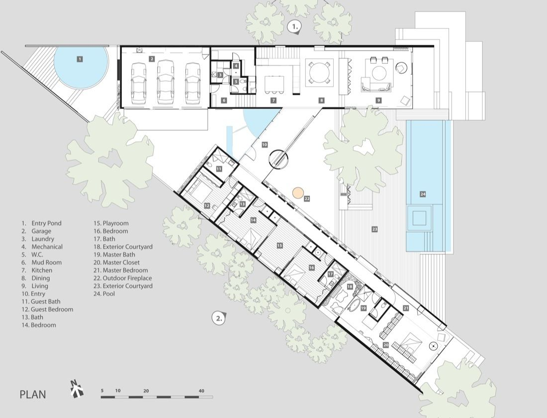 Gallery of cascading creek house 18 house Architectural floor plans