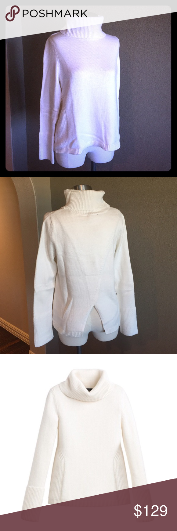 """White House Black Market Split-Back Turtleneck Cashmere blend long sleeve turtleneck has a relaxed fit with split-back detail. Look fabulous and cozy at the same time with winter white jeans and boots. Your fall and winter go-to look! Rayon/nylon/cotton/cashmere blend. Machine wash, cold.   Approximate Measurements (measured flat and unstretched):  Bust- 18"""" armpit to armpit Hemline- 20"""" (measured flat) Shoulder width- 13.5"""" Length from shoulder to hem - 22"""" Sleeve length- 23"""" White House…"""