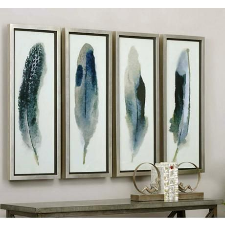 Feathered Beauty 4 Piece 38 1 4 High Framed Wall Art Set 1h008 Lamps Plus Feather Wall Art Frames On Wall Feather Artwork