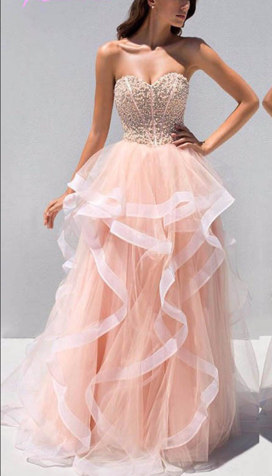 Sweetheart Beaded Top Prom Dresses, Sweet Organza Prom Dresses ...