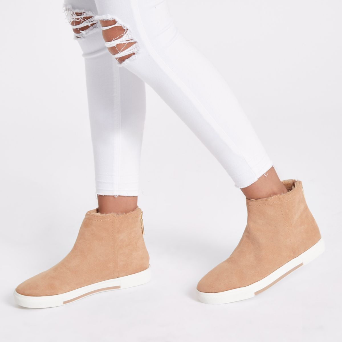 2c23989222a Beige wide fit faux fur lined boots