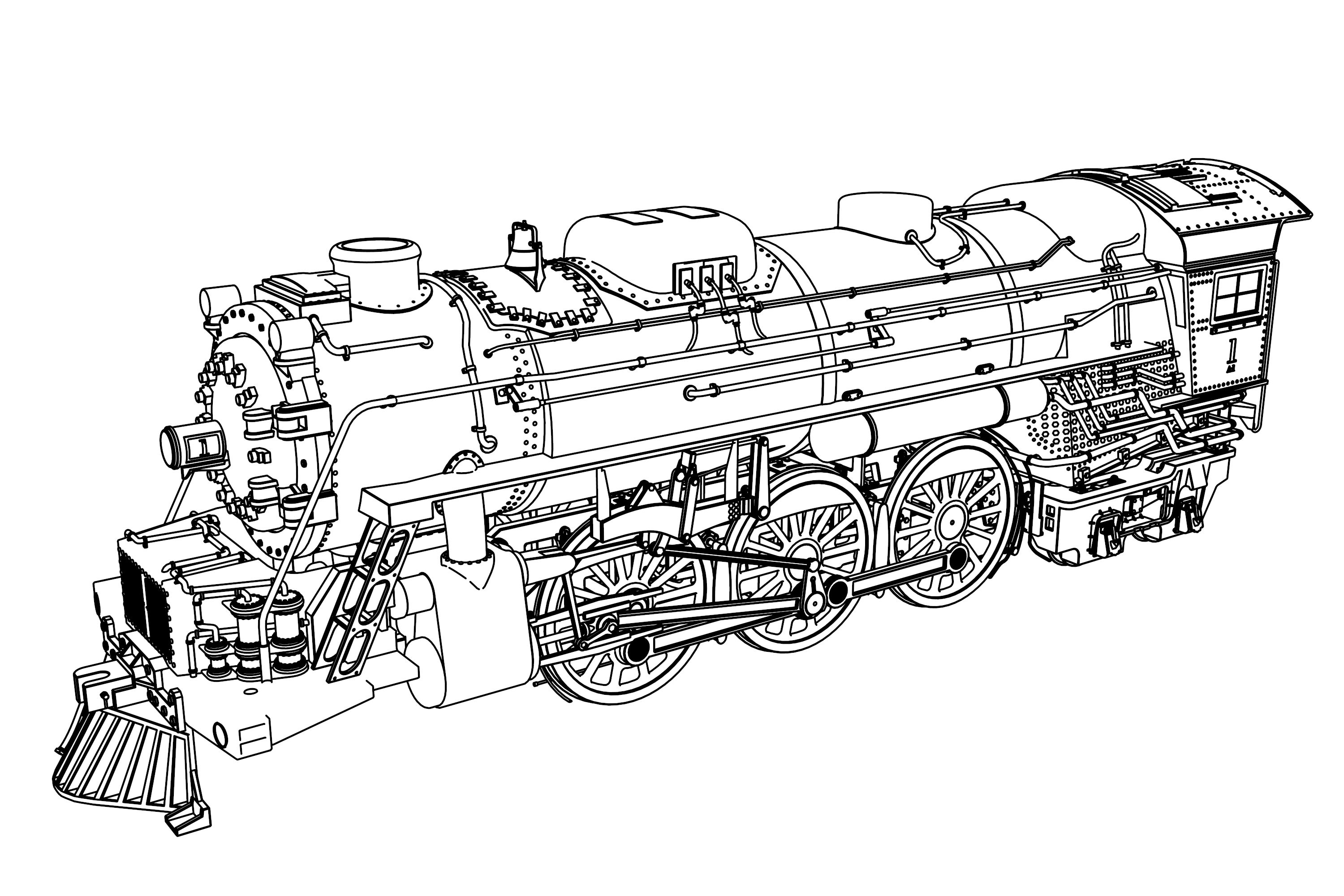 Very Detail Illustration Train Coloring Page Train Coloring