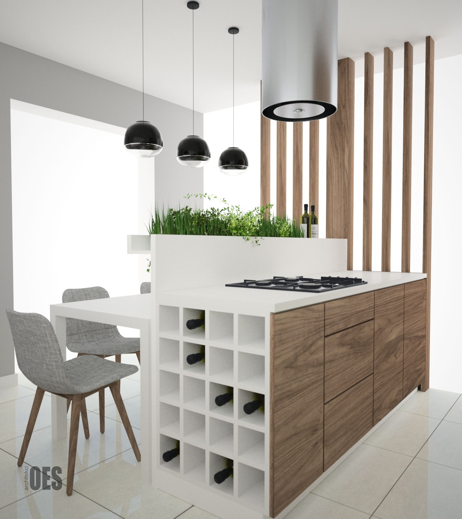 Azurowa Sciana W Kuchni Wyspa Kuchenna Biala Kuchnia Z Drewnem W