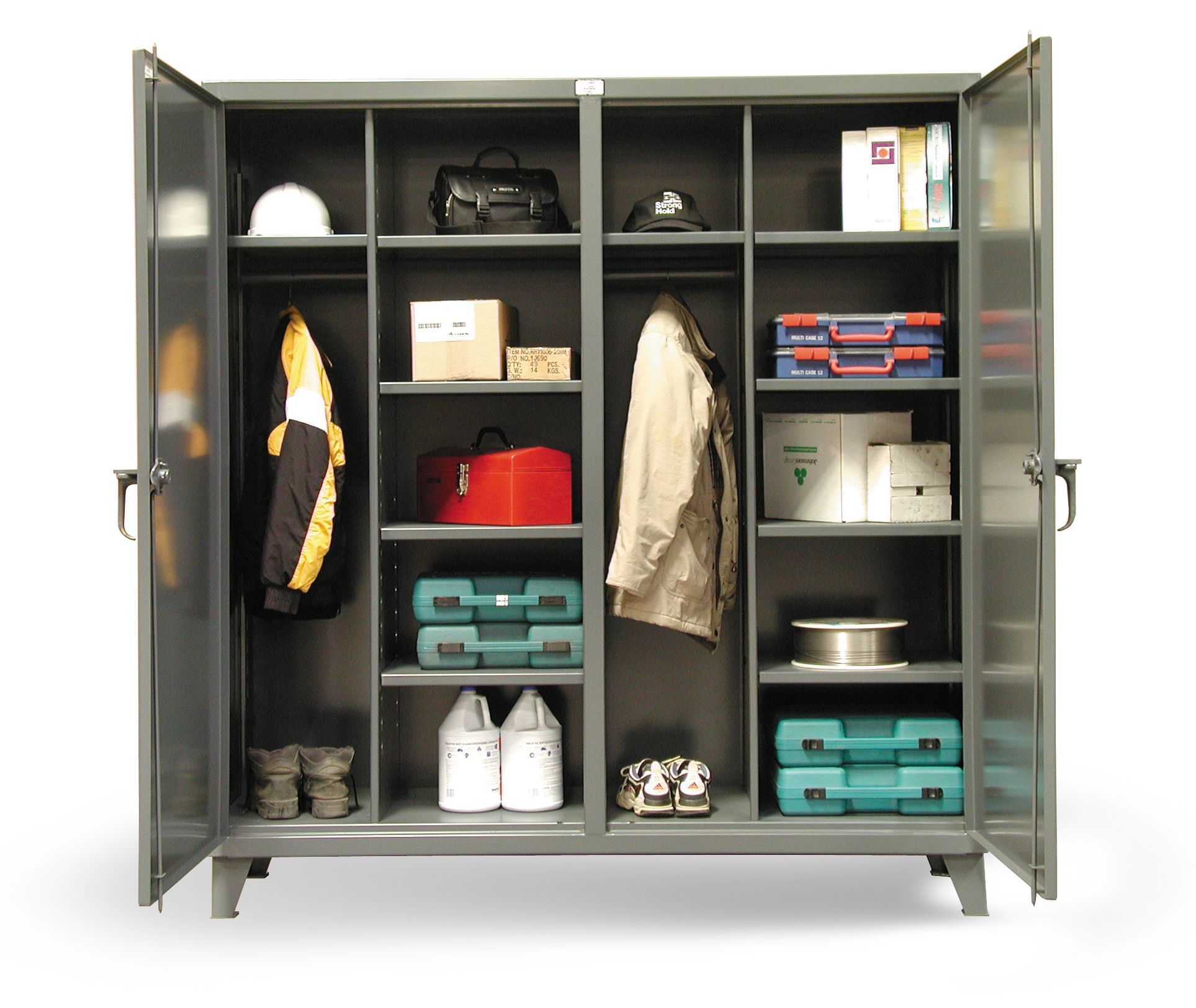 Perfect Double Duty Job Storage   Double Shift Wardrobe Cabinet With Hanger Shelf  And Closet Shelves. Locking Device Can Be Locked With A Standard Padlock.