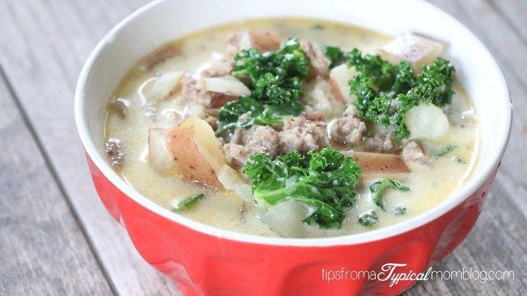 Instant Pot Italian Sausage Potato Soup (aka Zuppa Toscana) #sausagepotatoes Instant Pot Italian Sausage Potato Soup {aka Zuppa Toscana} - Tips from a Typical Mom #zuppatoscanasoup
