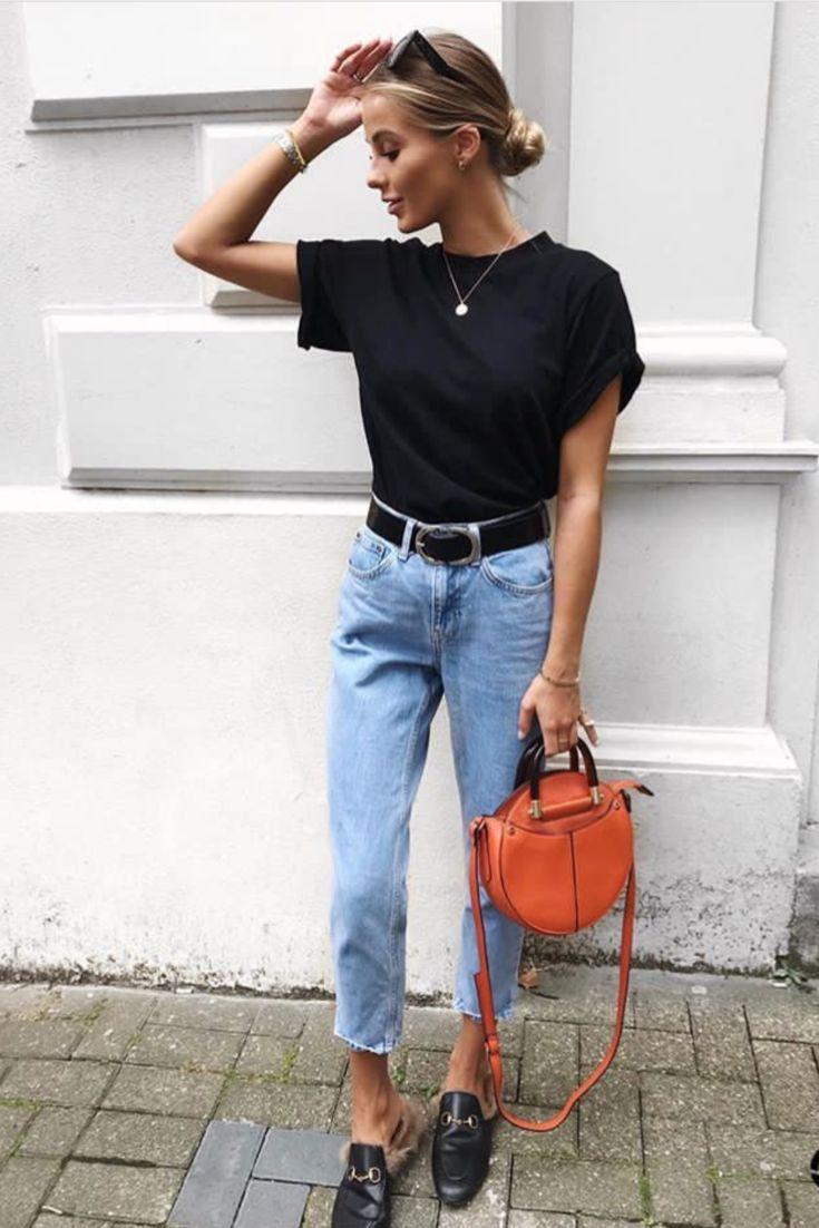 mode femme casual chic avec des basics jean mum tshirt. Black Bedroom Furniture Sets. Home Design Ideas