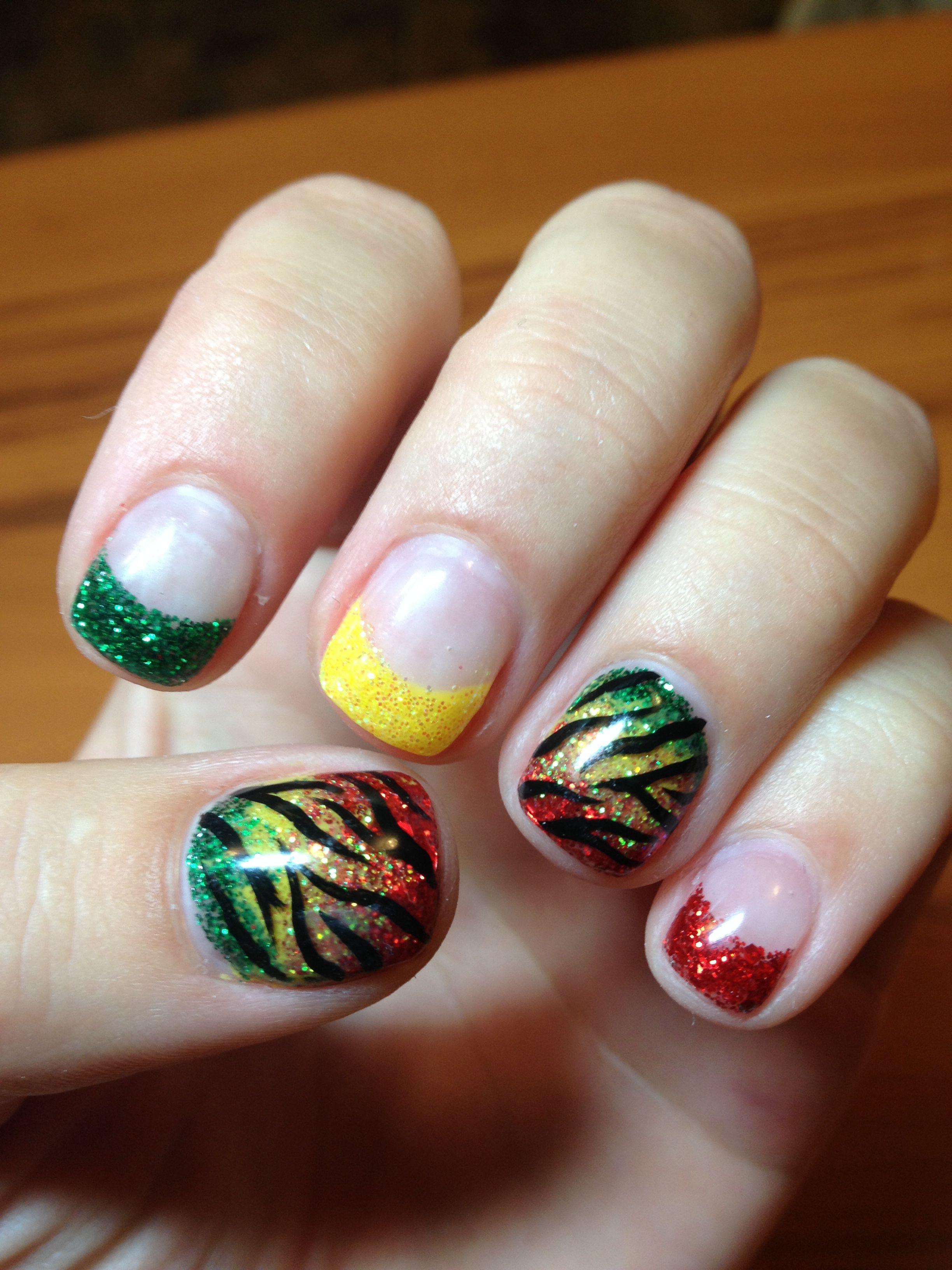 Rasta Gel Nails My Gel Nail Designs Pinterest Rasta Nails Vacation Nails And Jamaica Nails