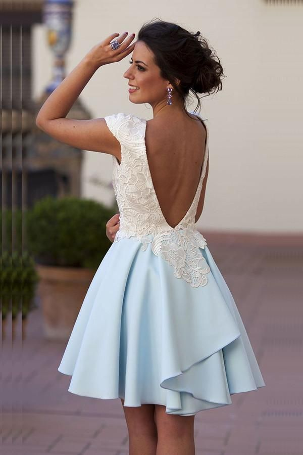7cd527ca35601 Charming Open Back Cap Sleeves Lace Sky Blue Homecoming Dresses Z1053