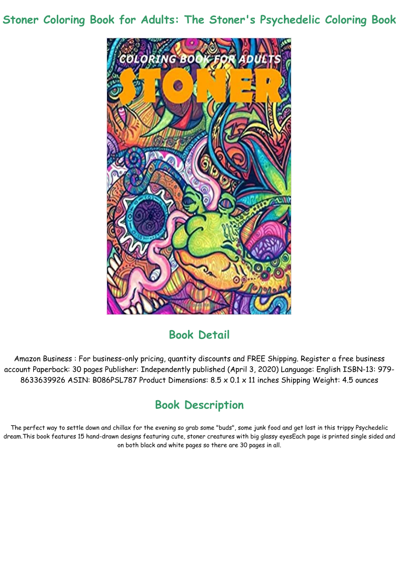 Ebook Stoner Coloring Book For Adults The Stoner S Psychedelic Coloring Book Full In 2020 Psychedelic Colors Coloring Books Books