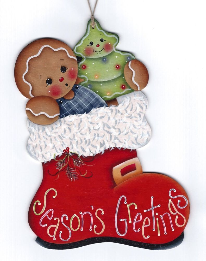 Hp gingerbread santa boot seasons greetings wall hanging santa christmas ornament m4hsunfo