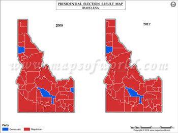 Idaho Election Results Map 2008 Vs 2012 USA Presidents Election