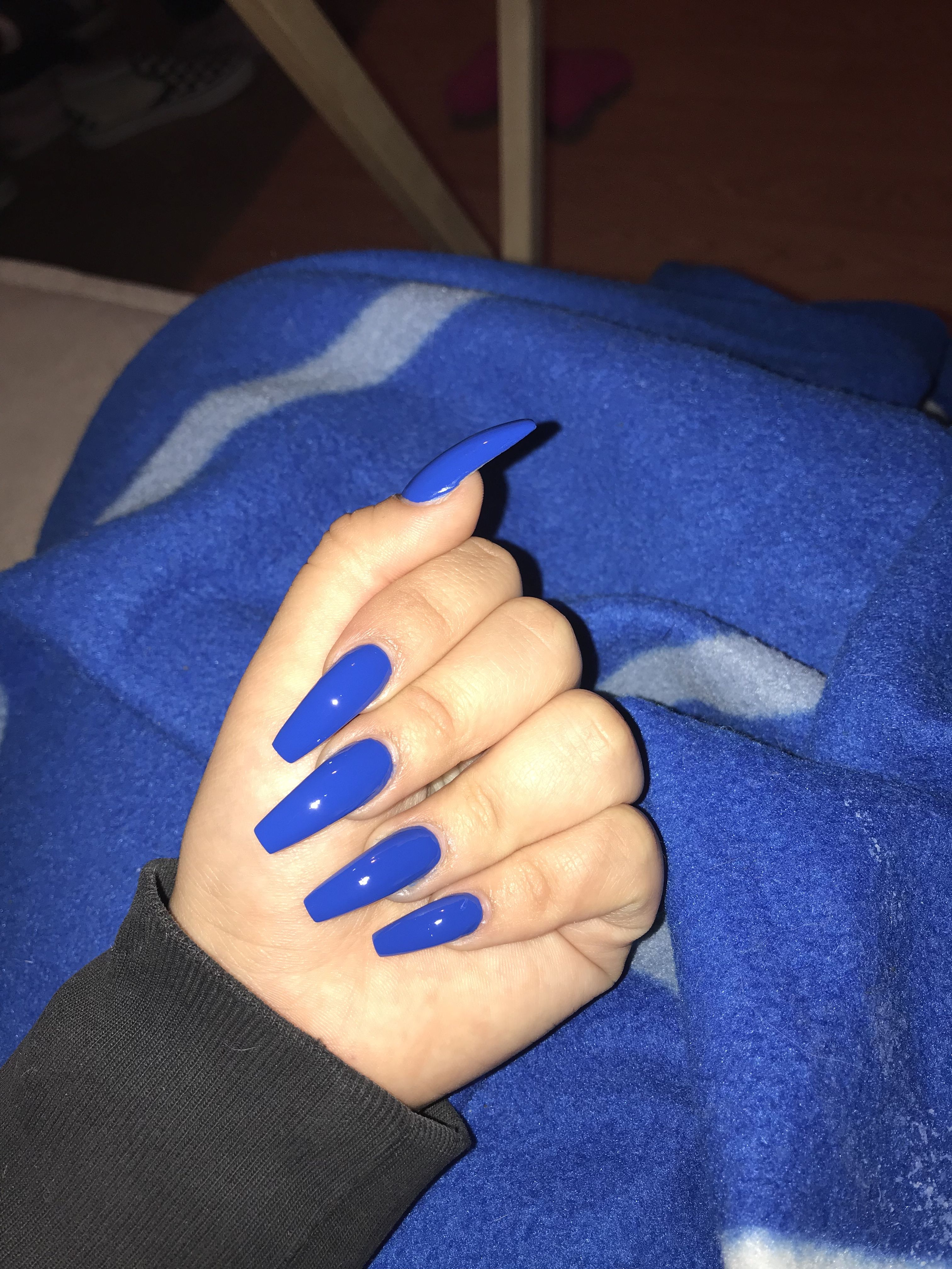 Blue long coffin acrylic nails. Summer nails Simple in 2019