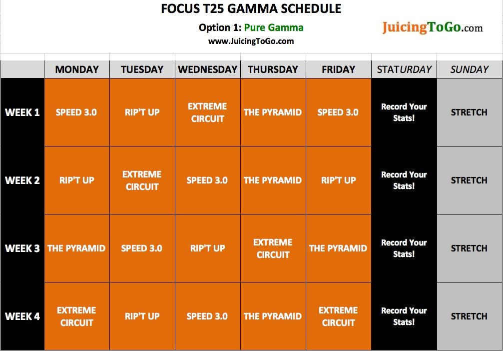 focus t25 beta schedule The only thing standing between you and the results you want is time shaun t designed a program that delivers the same kind of results you'd expect from an.