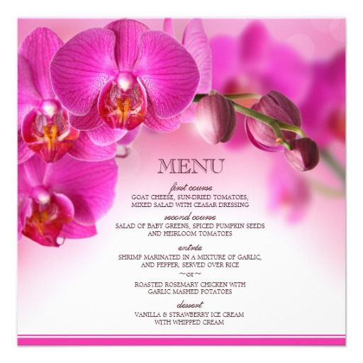 Painatetaan hääjuhlan koristelussa käytettävä kukka menukortteihin = väriä pöytiin