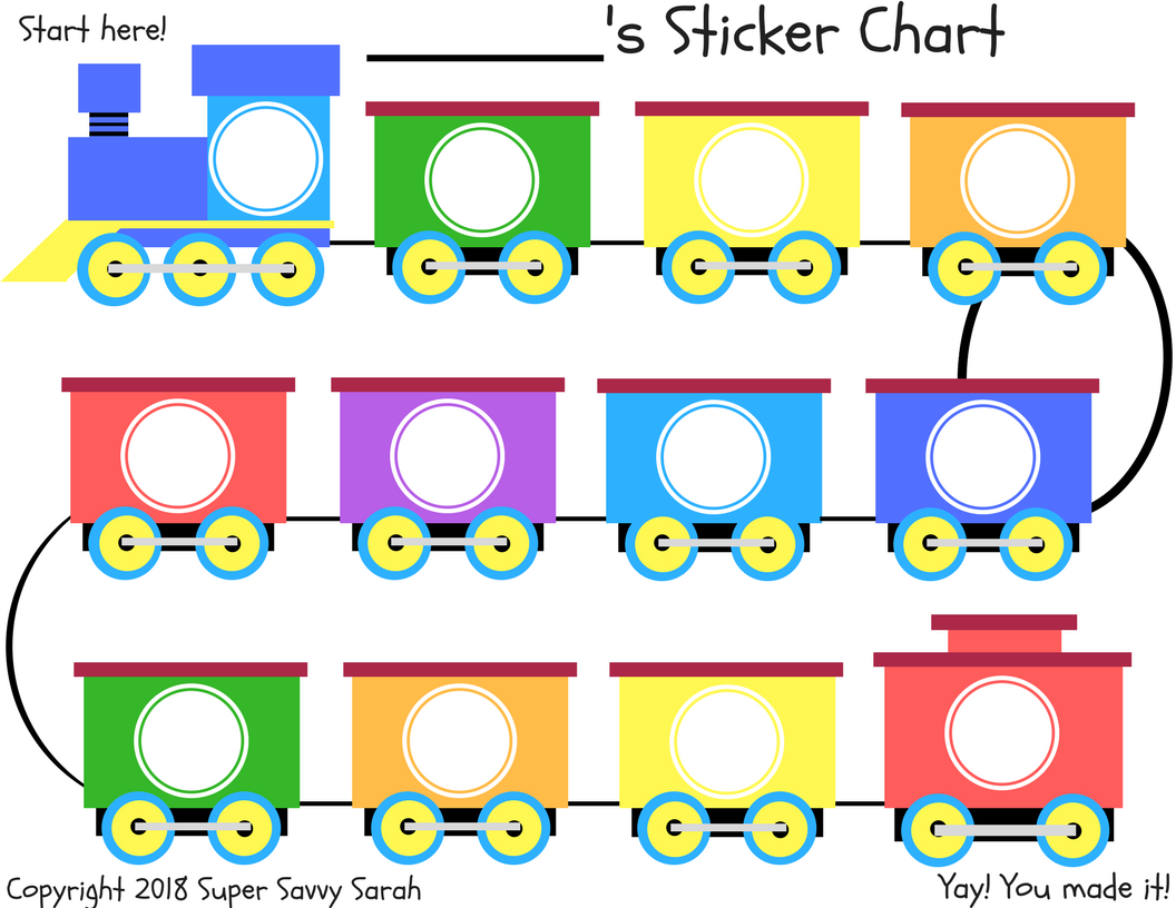 image relating to Train Printable named Printable Sticker Advantage Chart Tremendous Savvy Sarah Content articles