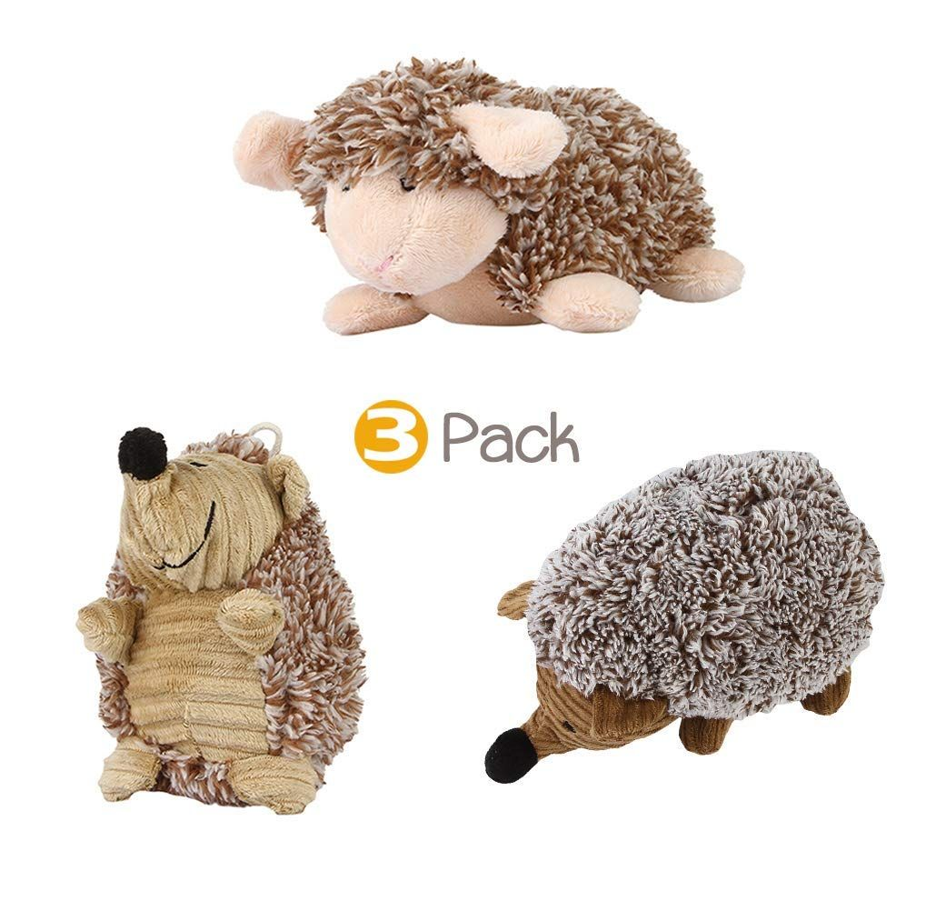 U2paw Durable Dog Squeaky Toys Hedgehog Dog Toys Sheep Plush Dog
