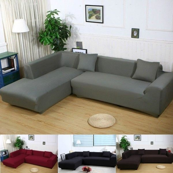 L Shape Stretch Elastic Fabric Sofa Cover Sectional /Corner ...