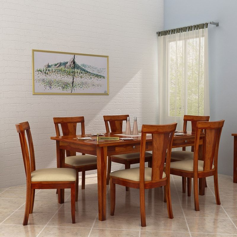 Buy Mcbeth Storage 6 Seater Dining Table Set Teak Finish Online In India 6 Seater Dining Table Dining Table Buy Dining Table