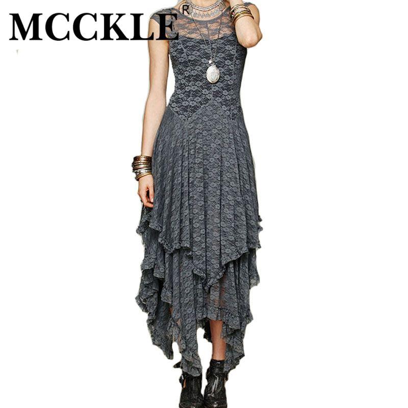 Mcckle frauen boho menschen hippie stil unregelmäßige spitze kleider ...