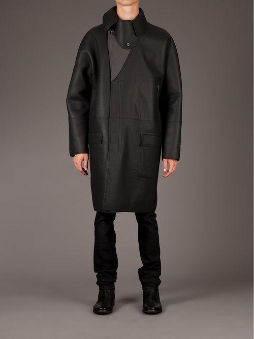 lanvin lambskin and neoprene overcoat menswear