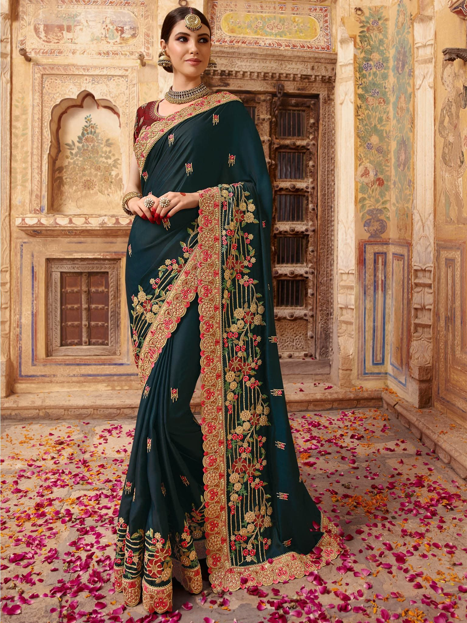 1652bef45 Dark Blue Color Barfi Silk Fabric Resham Embroidery With Stone Work Saree