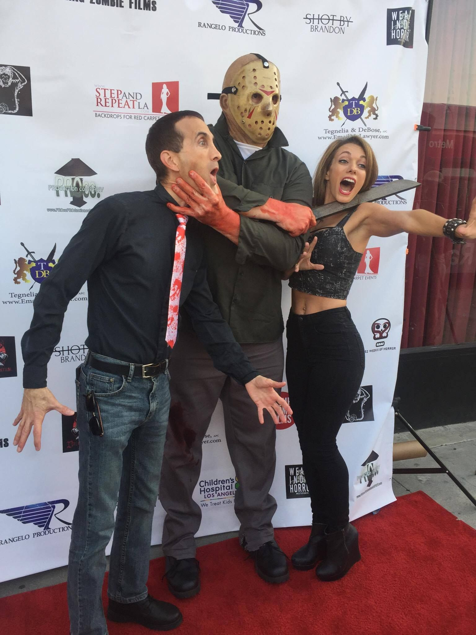 """With Ashley Nunes and """"Jason"""" at the world premiere of """"Firday the 13th - Part 3- In Memorimm"""""""