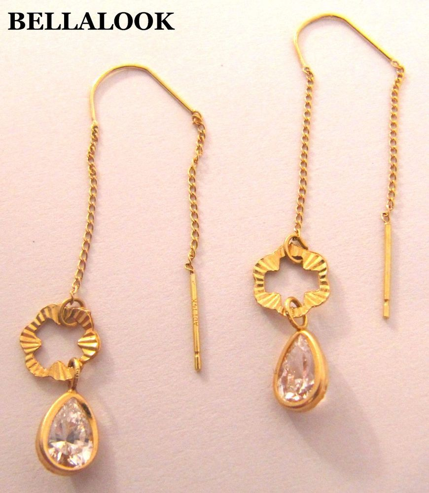 ESTATE MARKD ADI 14K SOLID YELLOW GOLD & DROP CUBIC ZIRCONIA DROP CHAIN EARRINGS #ADI #DropDangle