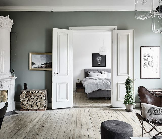Scandinavian Interior Apartment With Mix Of Gray Tones: Harmony And Balance In A Swedish Home With Green Accents